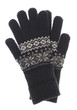 Winter Warm knitted black gloves isolated on white background