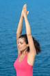 Breathing yoga exercise with sea
