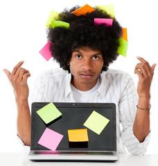 Black man multitasking