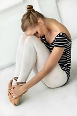Girl ballerina resting
