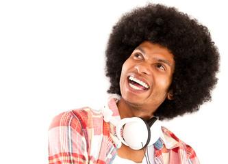 Happy afro man with headphones