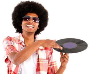 Afro man acting as DJ