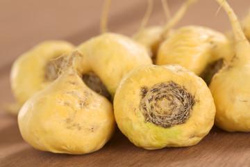 Maca roots or Peruvian ginseng (lat. Lepidium meyenii)