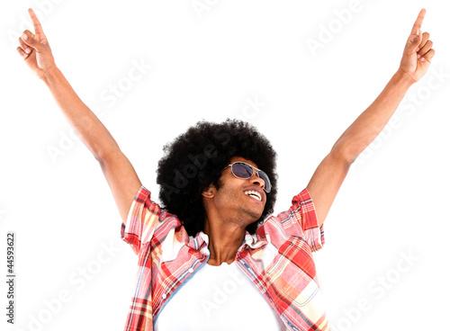 Excited black man