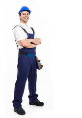 Smiling worker full length portrait