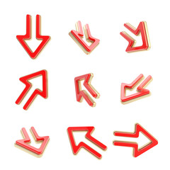 Arrow dimensional icons, set of nine positions