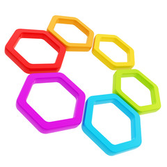 Six part composition made of hexagon segments isolated