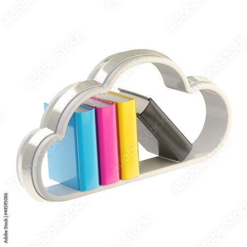 Book cloud shaped shelf icon emblem isolated