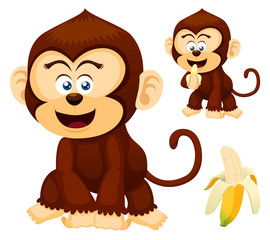 Illustration of cute Monkeys vector