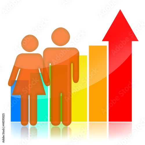 People and statistical graph with upward arrow