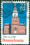 Stamp printed in USA shows old Building