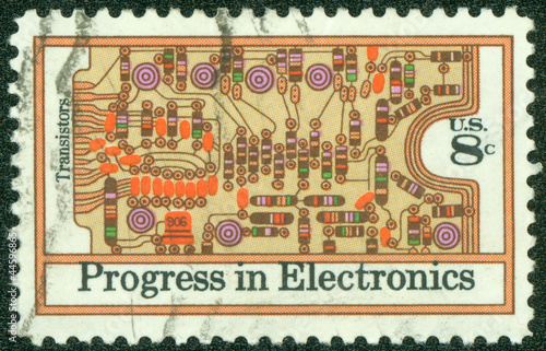 Stamp  shows the Transistors and  Electronics Progress Issue