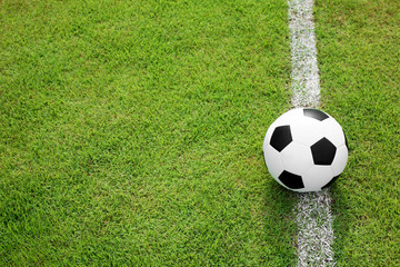 soccer ball on white line