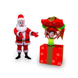 santa with big gift box and elves poster
