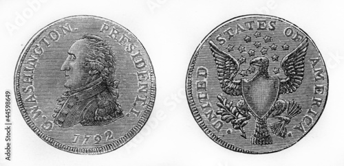 United states coin with president G. Washington from 1792