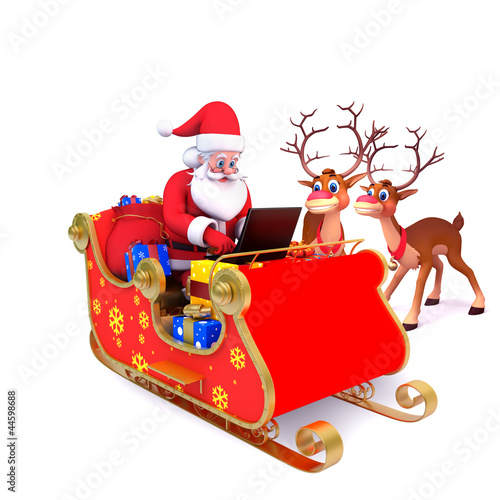 santa is with his sleigh and laptop