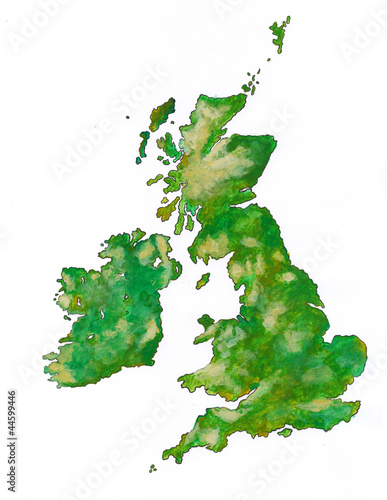 The British Isles with clipping path