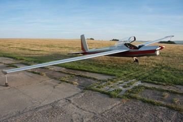Motor glider on the runway