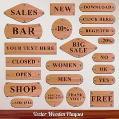Set vector Wooden plaque