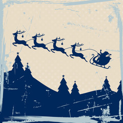 Santa Sleigh 4 Flying Reindeers Blue Retro Beige Background