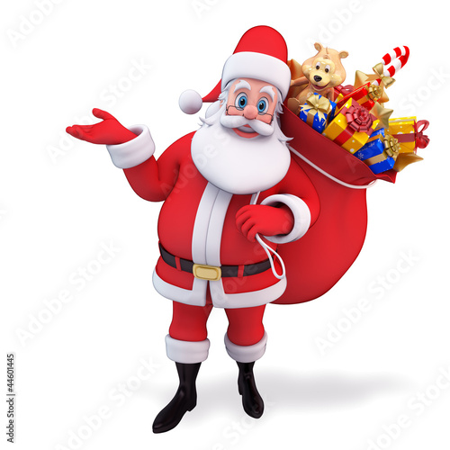 santa claus hanging gift bag to the back