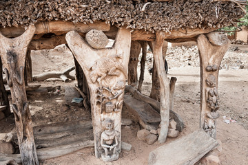 Details of Toguna in a Dogon village, Mali, Africa.