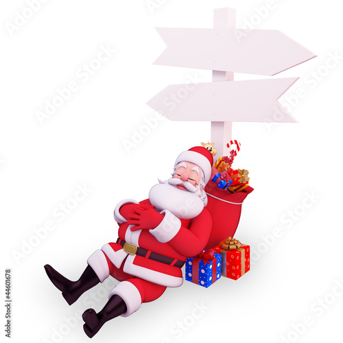 santa with sign and gifts