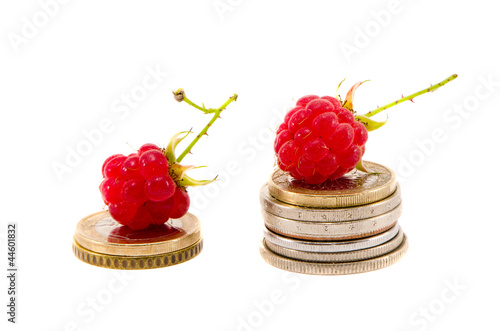 isolated on white two raspberry on euro coins
