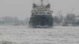 Ice breaking on the Danube river...