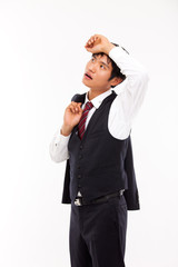 A tired Asian business man isolated on white background.