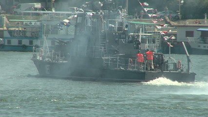 Military vessel on the Danube river during an attack (exercise)