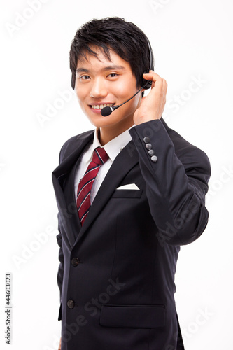 customer support operator man smiling isolated on white