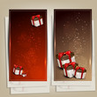 Set of holiday banners with gifts. Vector illustration