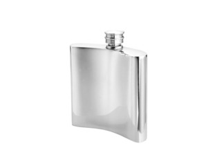 Metal flask isolated on white