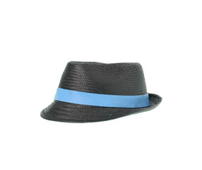 Gray and blue hat isolated on white