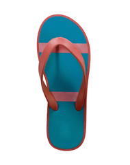 red and blue flip flop sandals isolated