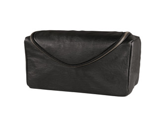 Mans black leather accessory bag or pouch isolated on white