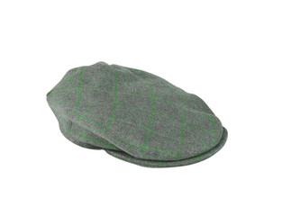 green felt man's cap isolated on white