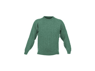 Knitted green jacket for the baby isolated on a white background