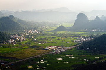 Aerial view Guilin village at sunset from Moon Hill mountain