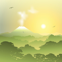 A Misty Forest Landscape with Volcano and Sunset, Sunrise