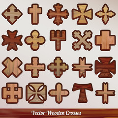 Vector set crosses wooden