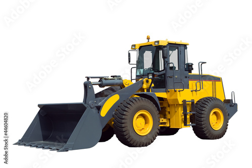 Bulldozer, isolated on white