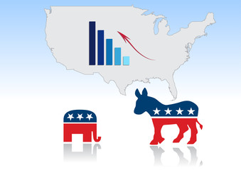 USA map with graph on development votes