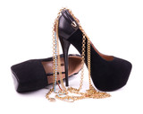 Sexy fashionable shoes, golden jewelry