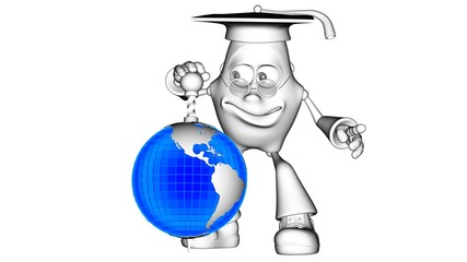 Globe blue and   3D character mr. Multic
