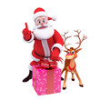 santa claus with reindeer and big gift box