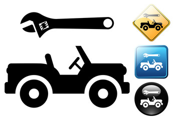Jeep repair pictogram and icons