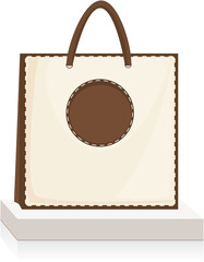 beige, brown shopping bag on stand