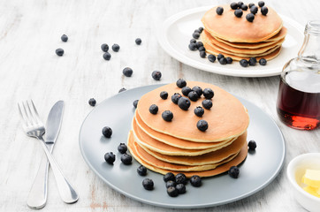 American country style pancakes with blueberries